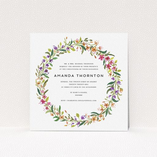 """A baptism invitation design titled """"Wild Spring Wreath"""". It is a square (148mm x 148mm) invite card in a square orientation. """"Wild Spring Wreath"""" is available as a flat invite card, with tones of light green and orange."""