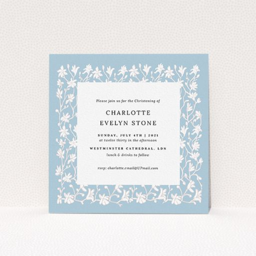 """A baptism invitation template titled """"Winter Garden"""". It is a square (148mm x 148mm) invite card in a square orientation. """"Winter Garden"""" is available as a flat invite card, with tones of blue and white."""