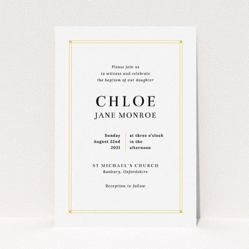 """A baptism invitation design named """"Yellow Square Border"""". It is an A5 invite card in a portrait orientation. """"Yellow Square Border"""" is available as a flat invite card, with tones of yellow and white."""