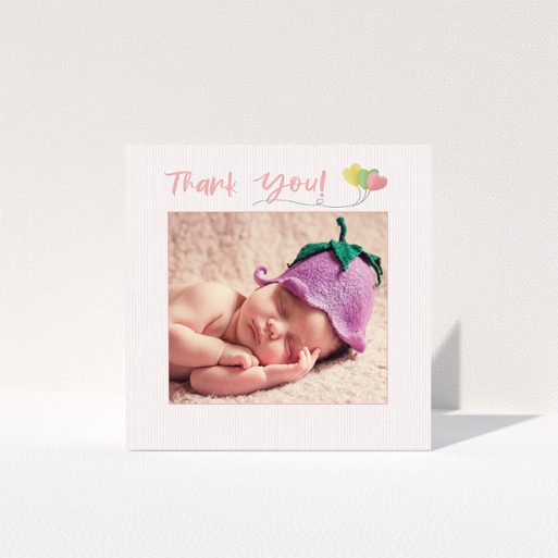 """A baptism thank you card template titled """"Balloooons"""". It is a square (148mm x 148mm) card in a square orientation. It is a photographic baptism thank you card with room for 1 photo. """"Balloooons"""" is available as a folded card, with tones of pink, green and yellow."""