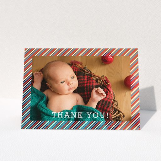 """A baptism thank you card named """"Blue, Red and White Slant"""". It is an A6 card in a landscape orientation. It is a photographic baptism thank you card with room for 1 photo. """"Blue, Red and White Slant"""" is available as a folded card, with mainly white colouring."""