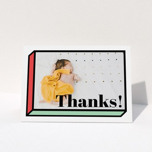 """A baptism thank you card design named """"Chip Off The Old Block"""". It is an A6 card in a landscape orientation. It is a photographic baptism thank you card with room for 1 photo. """"Chip Off The Old Block"""" is available as a folded card, with tones of green and red."""