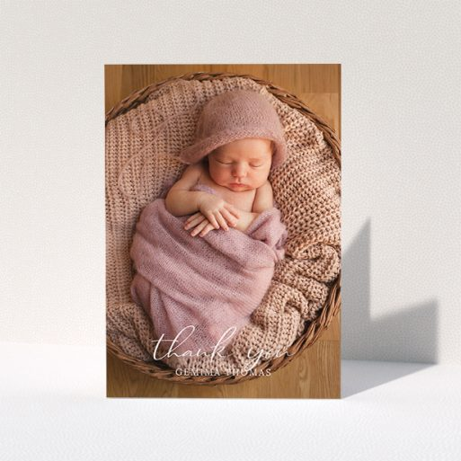 """A baptism thank you card template titled """"Classic Thank You"""". It is an A5 card in a portrait orientation. It is a photographic baptism thank you card with room for 1 photo. """"Classic Thank You"""" is available as a folded card, with mainly white colouring."""