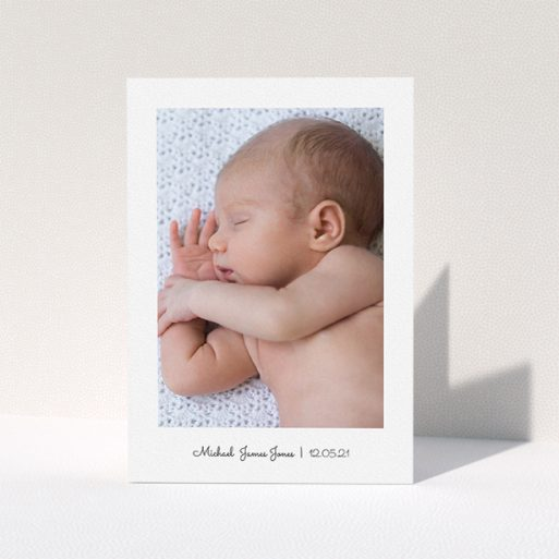 """A baptism thank you card template titled """"Classic Thank You with Photo"""". It is an A5 card in a portrait orientation. It is a photographic baptism thank you card with room for 1 photo. """"Classic Thank You with Photo"""" is available as a folded card, with mainly white colouring."""
