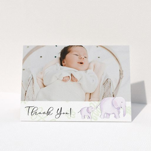 """A baptism thank you card called """"Gotcha by the Tail"""". It is an A6 card in a landscape orientation. It is a photographic baptism thank you card with room for 1 photo. """"Gotcha by the Tail"""" is available as a folded card, with tones of purple and green."""