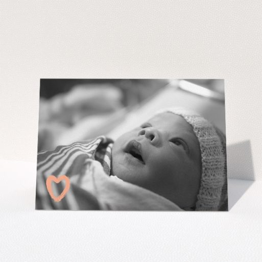 """A baptism thank you card template titled """"Hand Drawn Heart"""". It is an A5 card in a landscape orientation. It is a photographic baptism thank you card with room for 1 photo. """"Hand Drawn Heart"""" is available as a folded card, with mainly white colouring."""