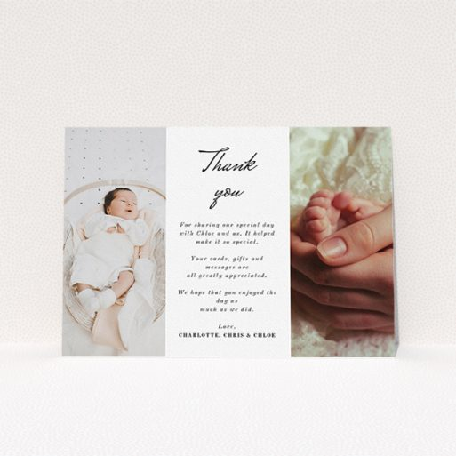 """A baptism thank you card design called """"Landscape Sandwich Frame"""". It is an A5 card in a landscape orientation. It is a photographic baptism thank you card with room for 2 photos. """"Landscape Sandwich Frame"""" is available as a flat card, with mainly white colouring."""