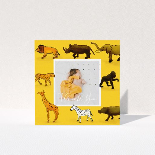 """A baptism thank you card called """"Little Safari"""". It is a square (148mm x 148mm) card in a square orientation. It is a photographic baptism thank you card with room for 1 photo. """"Little Safari"""" is available as a folded card, with tones of yellow, orange and brown."""