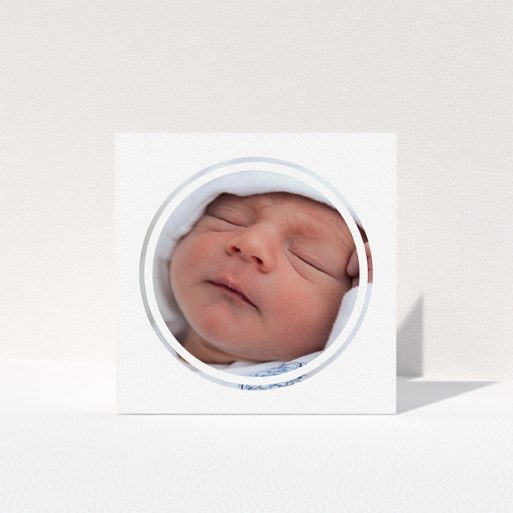 """A baptism thank you card design called """"Modern Circle Frame"""". It is a square (148mm x 148mm) card in a square orientation. It is a photographic baptism thank you card with room for 1 photo. """"Modern Circle Frame"""" is available as a folded card, with mainly white colouring."""