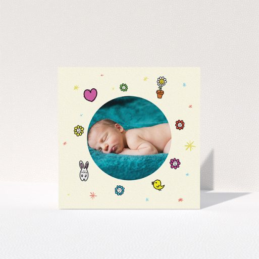 """A baptism thank you card design called """"Nursery Frame"""". It is a square (148mm x 148mm) card in a square orientation. It is a photographic baptism thank you card with room for 1 photo. """"Nursery Frame"""" is available as a folded card, with tones of cream, red and pink."""