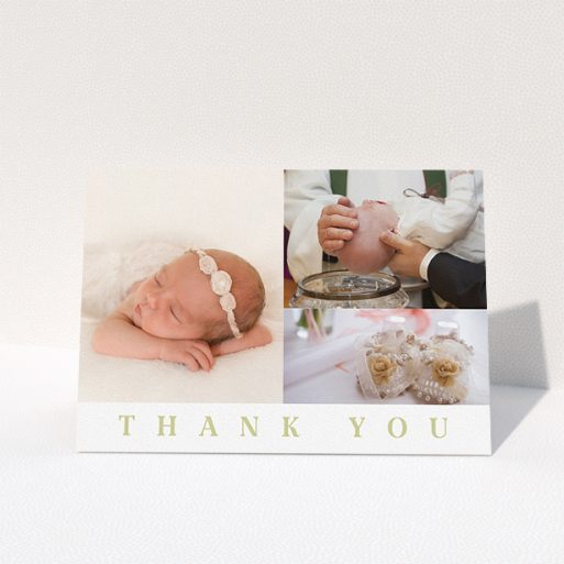 """A baptism thank you card design titled """"One and Two Half Frames"""". It is an A5 card in a landscape orientation. It is a photographic baptism thank you card with room for 3 photos. """"One and Two Half Frames"""" is available as a folded card, with tones of white and gold."""