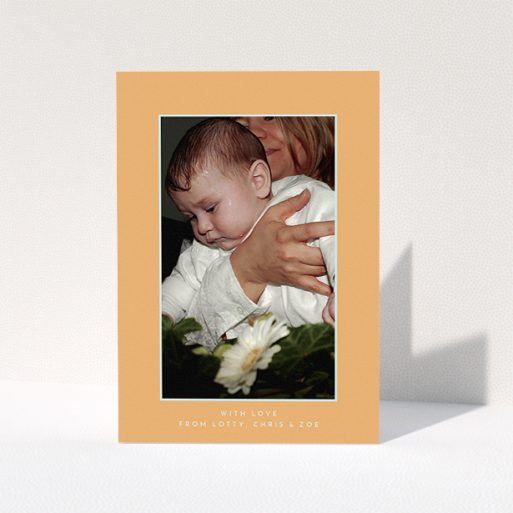 """A baptism thank you card called """"Orange and Mint"""". It is an A5 card in a portrait orientation. It is a photographic baptism thank you card with room for 1 photo. """"Orange and Mint"""" is available as a folded card, with tones of orange and blue."""