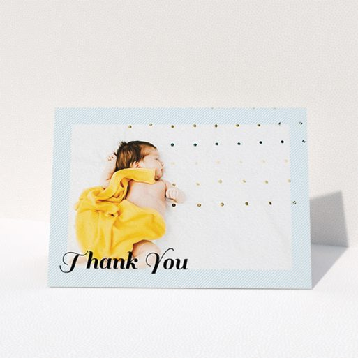 """A baptism thank you card design called """"Pastel Diagonals"""". It is an A6 card in a landscape orientation. It is a photographic baptism thank you card with room for 1 photo. """"Pastel Diagonals"""" is available as a folded card, with mainly blue colouring."""