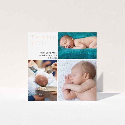 """A baptism thank you card design titled """"Quarter Frames"""". It is a square (148mm x 148mm) card in a square orientation. It is a photographic baptism thank you card with room for 3 photos. """"Quarter Frames"""" is available as a folded card, with tones of white and pink."""