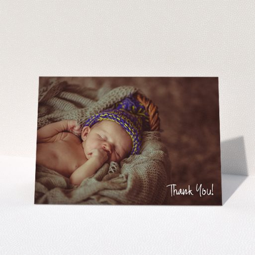 """A baptism thank you card design titled """"Rough but Simple Photo"""". It is an A5 card in a landscape orientation. It is a photographic baptism thank you card with room for 1 photo. """"Rough but Simple Photo"""" is available as a folded card, with mainly white colouring."""
