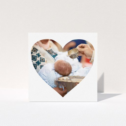 """A baptism thank you card design named """"Simple Heart Frames"""". It is a square (148mm x 148mm) card in a square orientation. It is a photographic baptism thank you card with room for 1 photo. """"Simple Heart Frames"""" is available as a folded card, with mainly white colouring."""