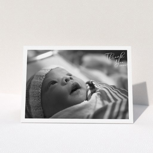 """A baptism thank you card design titled """"Simple Landscape Thanks"""". It is an A5 card in a landscape orientation. It is a photographic baptism thank you card with room for 1 photo. """"Simple Landscape Thanks"""" is available as a folded card, with mainly white colouring."""