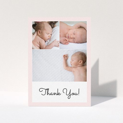 """A baptism thank you card called """"Thank You!"""". It is an A6 card in a portrait orientation. It is a photographic baptism thank you card with room for 3 photos. """"Thank You!"""" is available as a folded card, with tones of pink and white."""