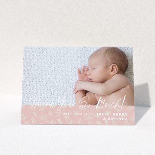 """A baptism thank you card template titled """"Thank You So Much"""". It is an A5 card in a landscape orientation. It is a photographic baptism thank you card with room for 1 photo. """"Thank You So Much"""" is available as a folded card, with tones of pink and white."""