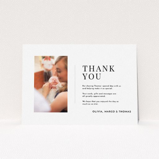 """A baptism thank you card template titled """"Tiny Portrait"""". It is an A5 card in a landscape orientation. It is a photographic baptism thank you card with room for 1 photo. """"Tiny Portrait"""" is available as a flat card, with mainly white colouring."""