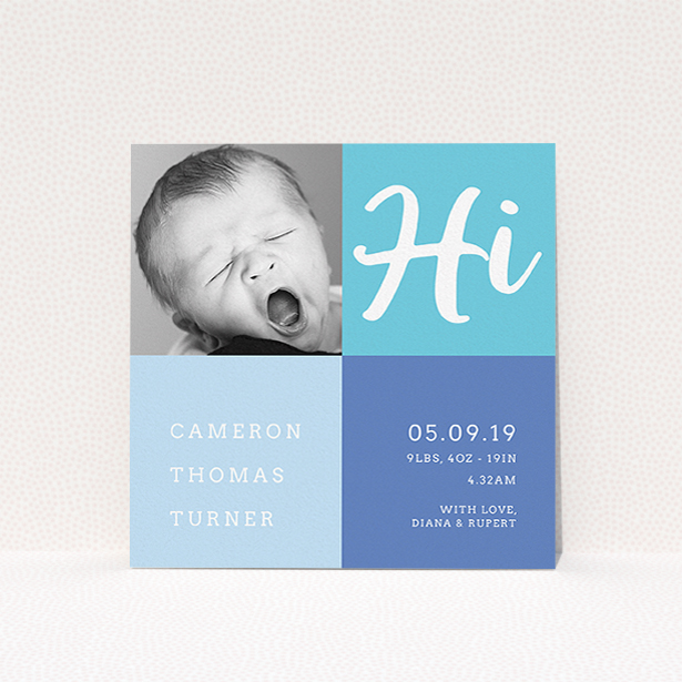 """A birth announcement card called """"All Squared Away"""". It is a square (148mm x 148mm) card in a square orientation. It is a photographic birth announcement card with room for 1 photo. """"All Squared Away"""" is available as a flat card, with tones of blue and white."""