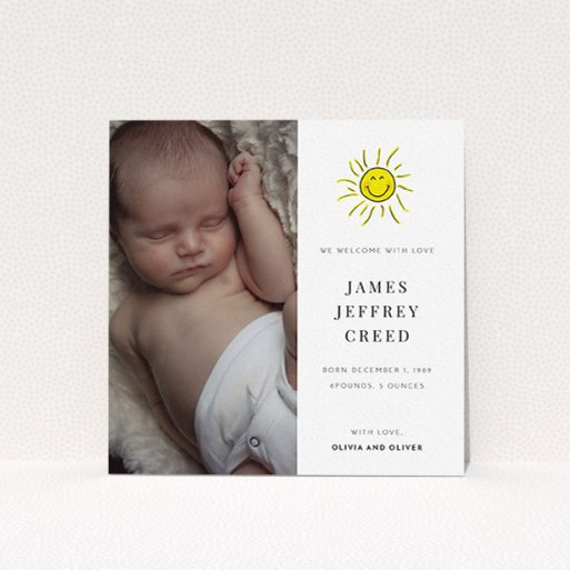 """A birth announcement card named """"Bright Sun"""". It is a square (148mm x 148mm) card in a square orientation. It is a photographic birth announcement card with room for 1 photo. """"Bright Sun"""" is available as a flat card, with tones of white and yellow."""