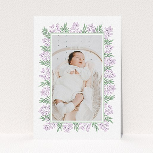 """A birth announcement card called """"Floral Frame"""". It is an A6 card in a portrait orientation. It is a photographic birth announcement card with room for 1 photo. """"Floral Frame"""" is available as a flat card, with tones of purple and green."""