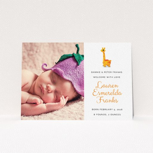 """A birth announcement card design named """"Fluffy Giraffe"""". It is an A6 card in a landscape orientation. It is a photographic birth announcement card with room for 1 photo. """"Fluffy Giraffe"""" is available as a flat card, with tones of orange and white."""