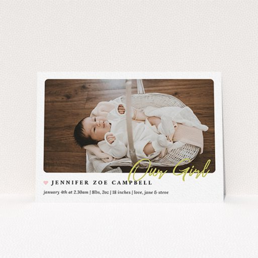 """A birth announcement card design named """"Gold Stamp"""". It is an A6 card in a landscape orientation. It is a photographic birth announcement card with room for 1 photo. """"Gold Stamp"""" is available as a flat card, with tones of white and gold."""