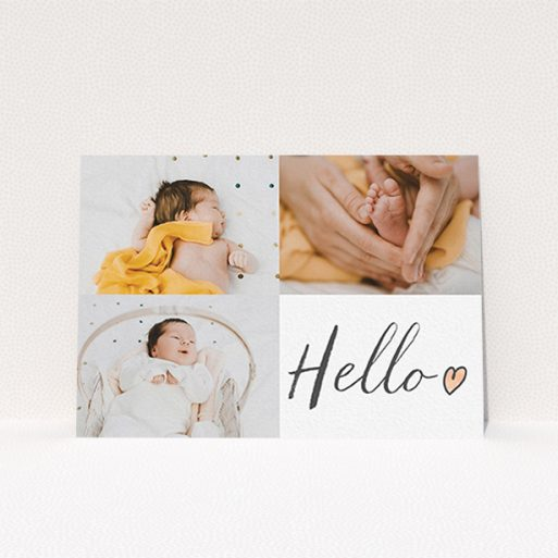 """A birth announcement card design titled """"Handwritten Hello"""". It is an A6 card in a landscape orientation. It is a photographic birth announcement card with room for 3 photos. """"Handwritten Hello"""" is available as a flat card, with tones of white and red."""