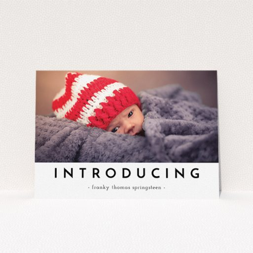 """A birth announcement card template titled """"Introducing"""". It is an A5 card in a landscape orientation. It is a photographic birth announcement card with room for 1 photo. """"Introducing"""" is available as a flat card, with mainly white colouring."""