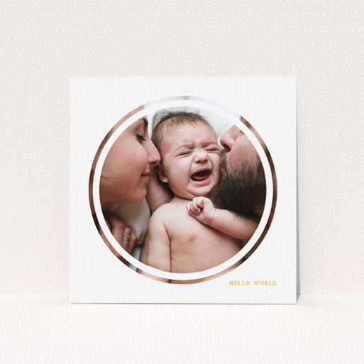 """A birth announcement card template titled """"Modern Circle Frame"""". It is a square (148mm x 148mm) card in a square orientation. It is a photographic birth announcement card with room for 1 photo. """"Modern Circle Frame"""" is available as a flat card, with tones of white and yellow."""