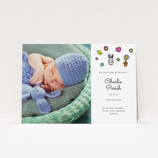 """A birth announcement card called """"Nursery Abstract"""". It is an A5 card in a landscape orientation. It is a photographic birth announcement card with room for 1 photo. """"Nursery Abstract"""" is available as a flat card, with tones of white and blue."""