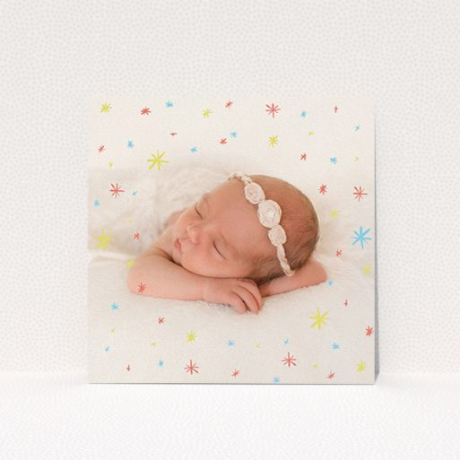 """A birth announcement card template titled """"Playground Stars"""". It is a square (148mm x 148mm) card in a square orientation. It is a photographic birth announcement card with room for 1 photo. """"Playground Stars"""" is available as a flat card, with mainly red colouring."""