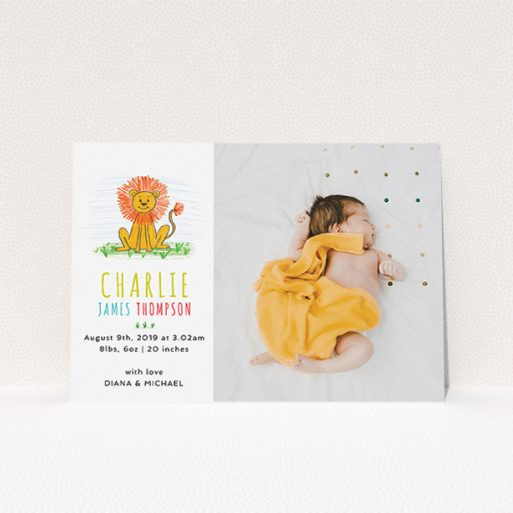 """A birth announcement card design called """"Playroom Lion"""". It is an A5 card in a landscape orientation. It is a photographic birth announcement card with room for 1 photo. """"Playroom Lion"""" is available as a flat card, with tones of white and green."""