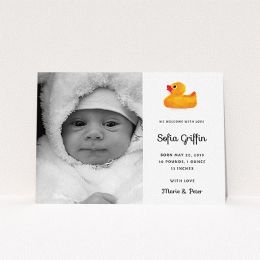 """A birth announcement card design titled """"Rubber Ducky"""". It is an A6 card in a landscape orientation. It is a photographic birth announcement card with room for 1 photo. """"Rubber Ducky"""" is available as a flat card, with tones of orange and white."""