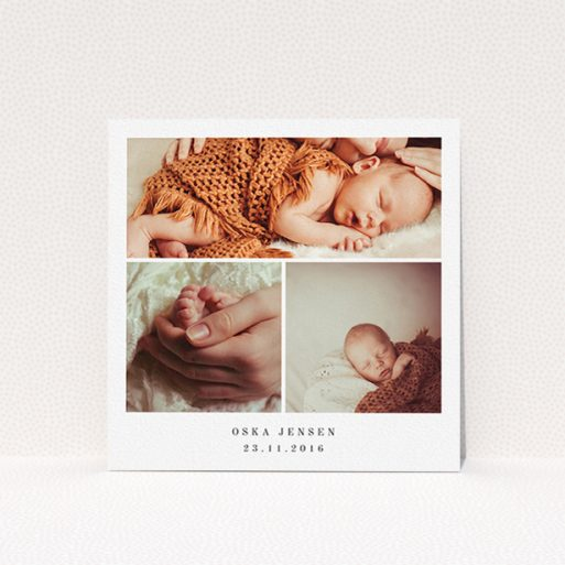 """A birth announcement card design named """"Simple 3 Frame"""". It is a square (148mm x 148mm) card in a square orientation. It is a photographic birth announcement card with room for 3 photos. """"Simple 3 Frame"""" is available as a flat card, with mainly white colouring."""