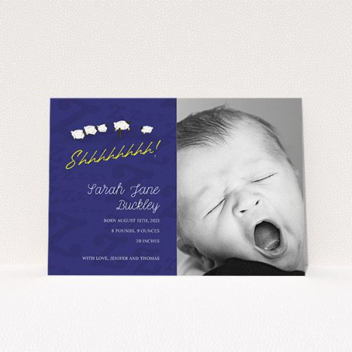"""A birth announcement card design named """"Sleepy Time"""". It is an A5 card in a landscape orientation. It is a photographic birth announcement card with room for 1 photo. """"Sleepy Time"""" is available as a flat card, with tones of navy blue and white."""