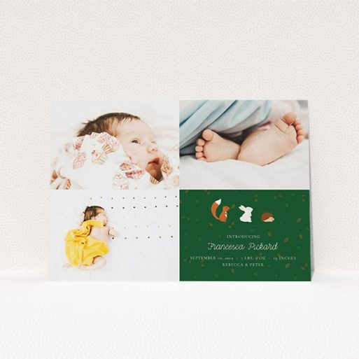 """A birth announcement card design titled """"Woodland Chums"""". It is an A5 card in a landscape orientation. It is a photographic birth announcement card with room for 3 photos. """"Woodland Chums"""" is available as a flat card, with tones of green and white."""