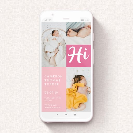 """A birth announcement for whatsapp called """"All Squared Away Pink"""". It is a smartphone screen sized announcement in a portrait orientation. It is a photographic birth announcement for whatsapp with room for 1 photo. """"All Squared Away Pink"""" is available as a flat announcement, with tones of pink and white."""