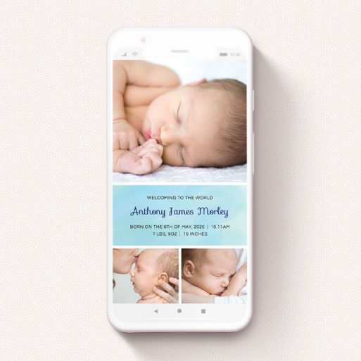 """A birth announcement for whatsapp design named """"Block Tower - Boy"""". It is a smartphone screen sized announcement in a portrait orientation. It is a photographic birth announcement for whatsapp with room for 3 photos. """"Block Tower - Boy"""" is available as a flat announcement, with tones of blue and white."""