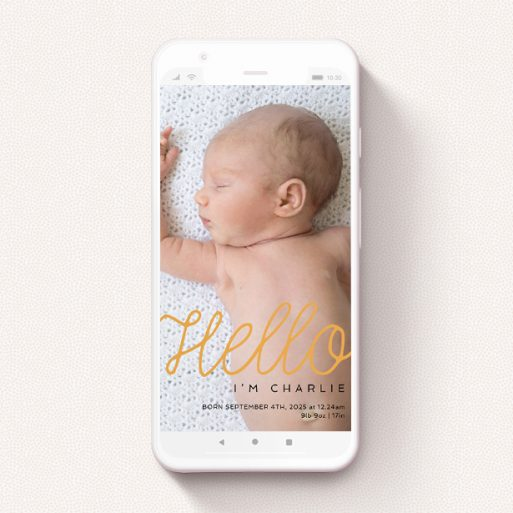 """A birth announcement for whatsapp template titled """"Hello Cursive"""". It is a smartphone screen sized announcement in a portrait orientation. It is a photographic birth announcement for whatsapp with room for 3 photos. """"Hello Cursive"""" is available as a flat announcement, with tones of orange and black."""