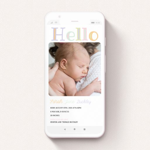 """A birth announcement for whatsapp design named """"Hello Pastels"""". It is a smartphone screen sized announcement in a portrait orientation. It is a photographic birth announcement for whatsapp with room for 1 photo. """"Hello Pastels"""" is available as a flat announcement, with tones of white and green."""