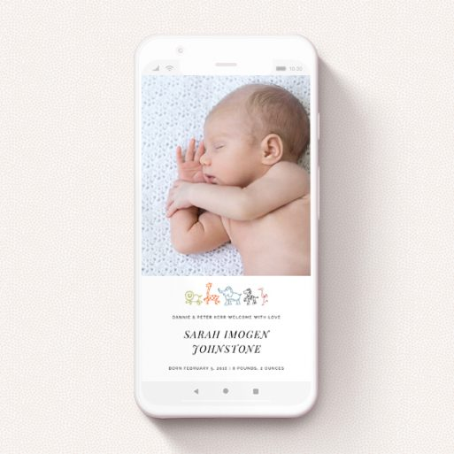 """A birth announcement for whatsapp design named """"Playground Safari"""". It is a smartphone screen sized announcement in a portrait orientation. It is a photographic birth announcement for whatsapp with room for 1 photo. """"Playground Safari"""" is available as a flat announcement, with tones of white and orange."""