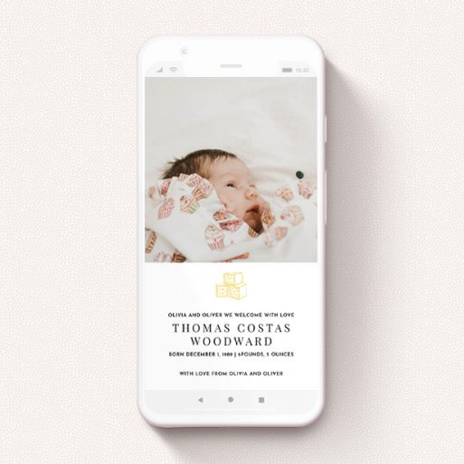 """A birth announcement for whatsapp called """"Playtime"""". It is a smartphone screen sized announcement in a portrait orientation. It is a photographic birth announcement for whatsapp with room for 1 photo. """"Playtime"""" is available as a flat announcement, with tones of white and yellow."""