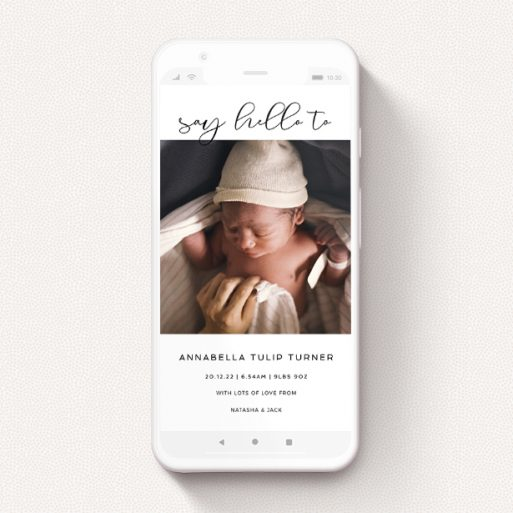 """A birth announcement for whatsapp design named """"Simple Setting"""". It is a smartphone screen sized announcement in a portrait orientation. It is a photographic birth announcement for whatsapp with room for 1 photo. """"Simple Setting"""" is available as a flat announcement, with mainly white colouring."""