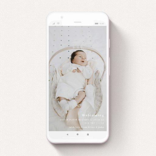"""A birth announcement for whatsapp template titled """"Southbank"""". It is a smartphone screen sized announcement in a portrait orientation. It is a photographic birth announcement for whatsapp with room for 1 photo. """"Southbank"""" is available as a flat announcement, with mainly white colouring."""