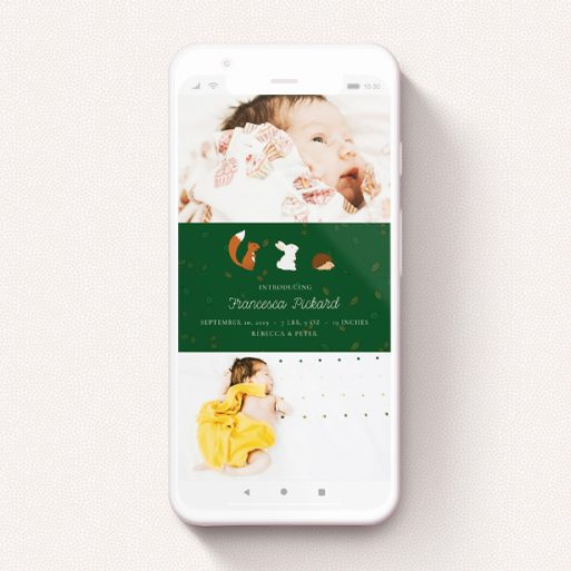 """A birth announcement for whatsapp named """"Woodland Chums"""". It is a smartphone screen sized announcement in a portrait orientation. It is a photographic birth announcement for whatsapp with room for 3 photos. """"Woodland Chums"""" is available as a flat announcement, with tones of green, orange and brown."""