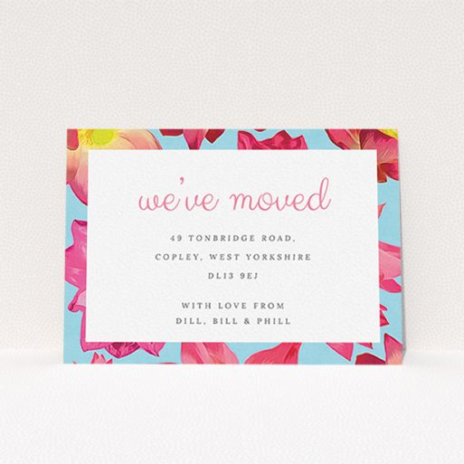"""A change of address card design named """"A splash of blossom"""". It is an A6 card in a landscape orientation. """"A splash of blossom"""" is available as a flat card, with tones of light blue, hot pink and yellow."""