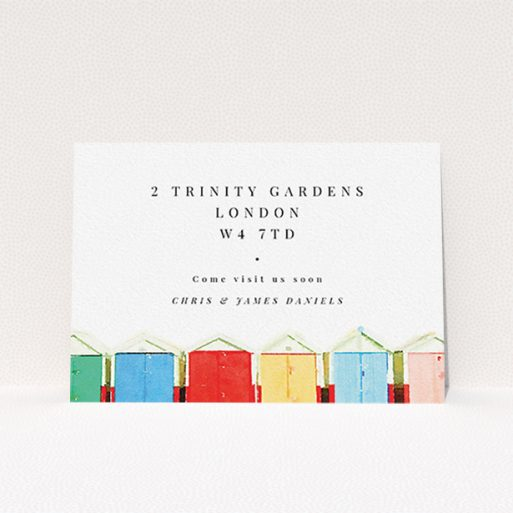 """A change of address card design called """"A vision of huts"""". It is an A6 card in a landscape orientation. """"A vision of huts"""" is available as a flat card, with tones of white and light blue."""